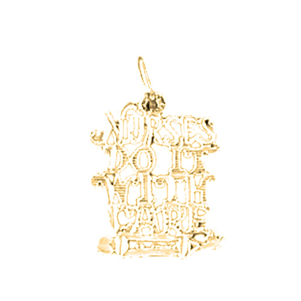 Jewels Obsession Saying Necklace 14K Yellow Gold-plated 925 Silver Nurses Do It With Care Saying Pendant with 30 Necklace