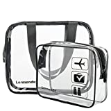 Lermende Clear Toiletry Bag TSA Approved Travel Carry On Airport Airline Compliant Bag Quart Sized 3-1-1 Kit Travel Luggage Pouch 2pcs/pack (Stanard Size x1 & Large Size x1)