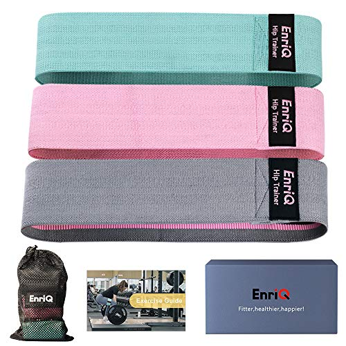 EnriQ Fabric Resistance Bands for Legs and Butt Non Slip Fabric Booty Bands Fitness Bands Elastic Workout Bands-Activate Glutes and Thighs-3 Pack Set-Workout Program Carry Bag Included