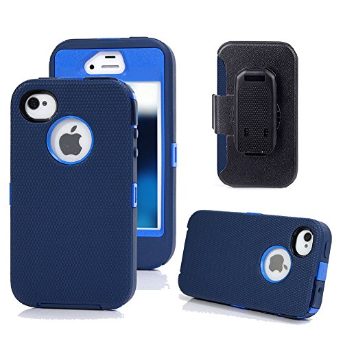 iPhone 4s Case, Harsel Defender Series Heavy Duty Tough Rugged High Impact Armor Hybrid Military with Belt Clip Built-in Screen Protector Case Cover for Apple iPhone 4s /4g (Navy / Dark Blue)