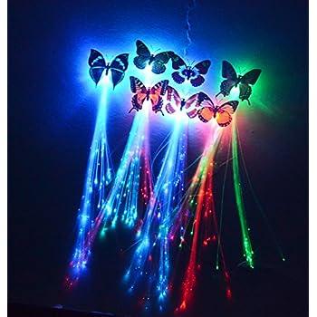 Amazon etekcity led hair lights15 pack for christmas party 6 pk 14 led butterfly flashing hair braid extensions fiber optic light pmusecretfo Choice Image