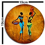 Studio Shubham Wooden African Vintage Art Wall Plates for Hanging (7.5 Inch, Brown, Set of 3)