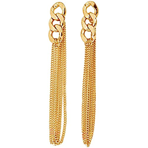 Generic Hot sale Women Golden Tassel Chain Ear Long Chunky Chain Earrings Stud Earring
