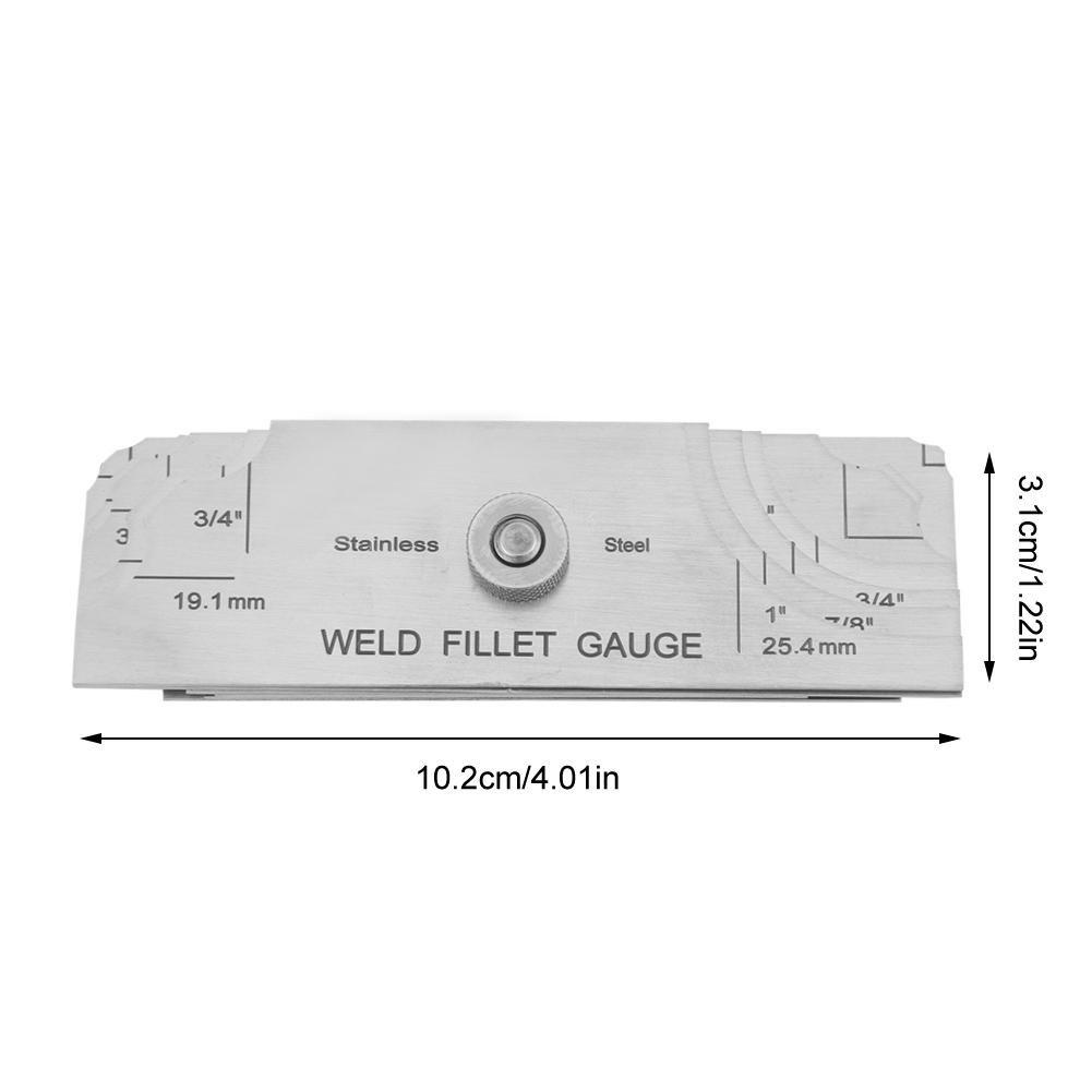 Welding Fillet Gauge 7pcs Inch//MM Metrical Weld Size Stainless Steel Weld Measuring Inspection Test Ulnar Gage