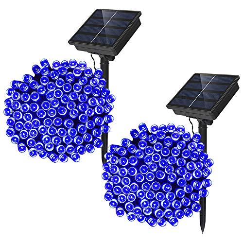 Dolucky 72Ft 200 LED Solar String Lights, 8 Modes Christmas Fairy Light, Backyard Patio Powered Lights, Hanging Waterproof Indoor/Outdoor String Lights for Bistro Wedding Party Decor (Blue, 2 Pack)