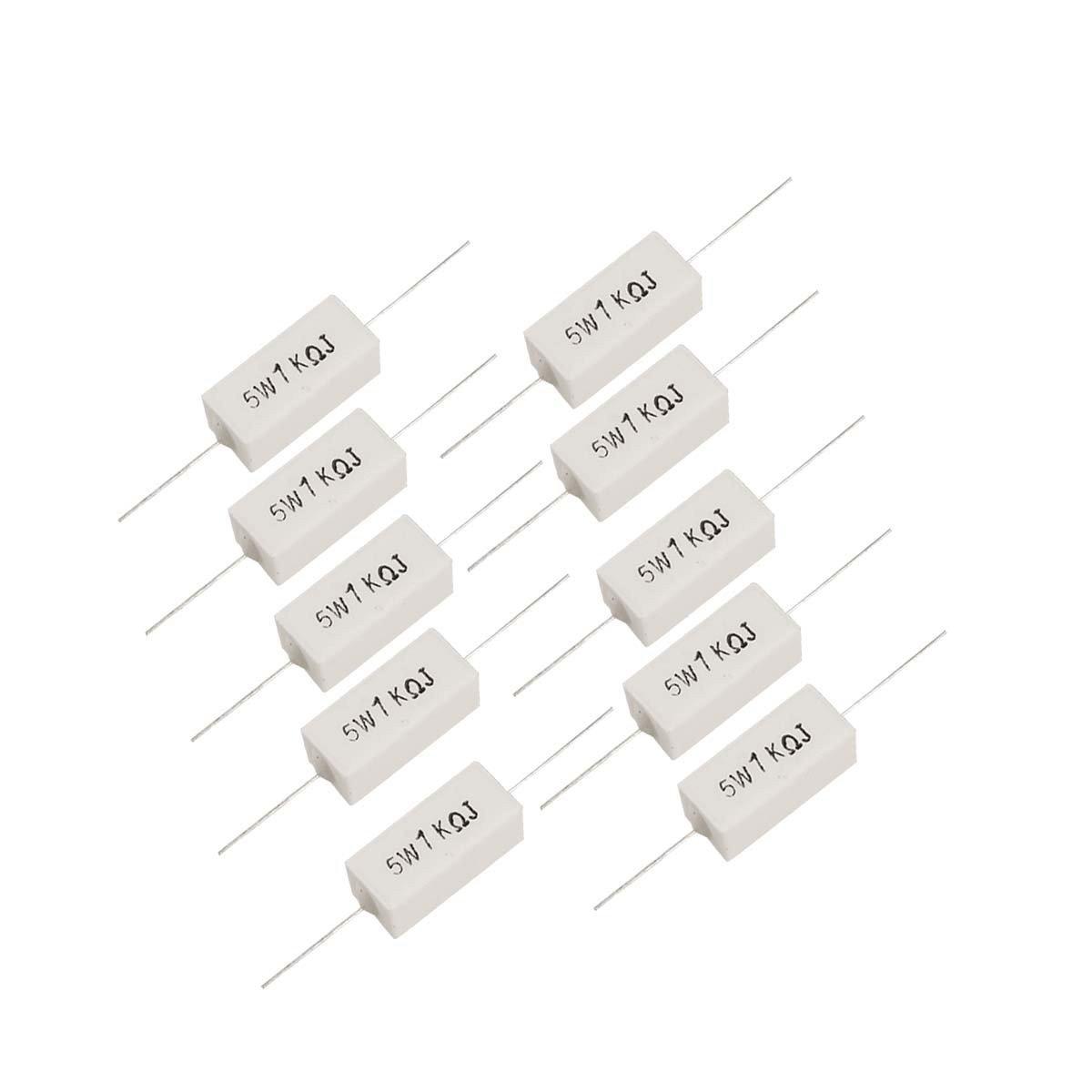 Saim 10 Pcs Ceramic Cement Power Resistor 5W Watts 1K Ohm 5% XC00036