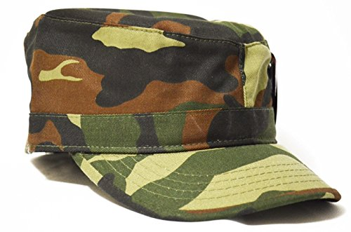 Camo Summer 100% Cotton Army Military Cadet Visor Fitted Cap Hat ()