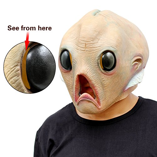 CreepyParty Deluxe Novelty Halloween Costume Party Latex Head Mask Alien ()