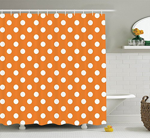 Polka Dots Home Decor Collection Classic Old-Fashioned Polka Dots Continuous in Spacing and Shape 20s Design Polyester Fabric Bathroom Shower Curtain Orange ()