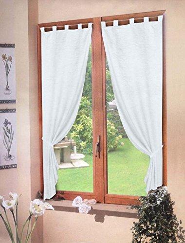 coppia TENDE BIANCO raso 60X150 - tenda finestra cucina soggiorno ...