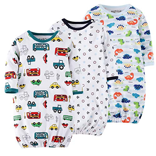 3 Pack Baby Boys Sleep Gown Set Breathable Cotton Baby Nightgown with No-Scratch Mittens 90 (Dress Night Boy Baby)