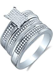10K White Gold Diamond Mens and Ladies Couple His & Hers Trio 3 Three Ring Bridal Matching Engagement Wedding Ring Band Set - Emerald Shape Center Setting w/ Micro Pave Set Round Diamonds - (2/5 cttw) - Please use drop down menu to select your desired ring sizes