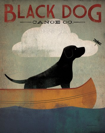 (Black Dog Canoe Art Poster Print by Ryan Fowler,)