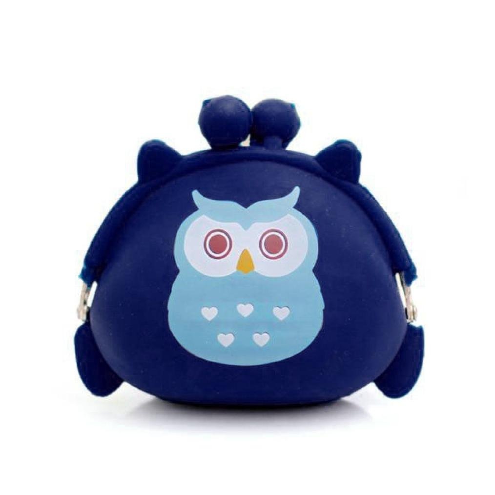 Women Girls Lovely Small Coin Pouch Owl Silicone Change Purse Money Bag Kisslock (109cm, Blue)