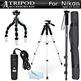 "Tripod Bundle Kit For Nikon Df, D5300 D3300 D5200 D3200 D3100 D5100, D7100, D600 D610, D810, D750, D7200 Digital SLR Camera Includes 57"" Tripod + 67"" Monopod + Flexible Tripod + Remote Shutter Release"