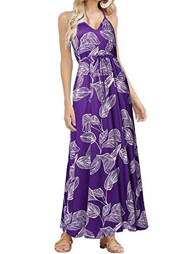 (HUSKARY Womens Sleeveless V Neck Spaghetti Strap Pockets Floral Print Beach Boho Tropical Summer Maxi Dress)