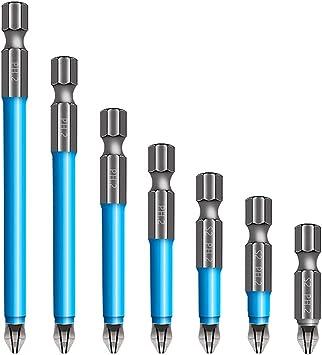 Magnetic Anti-Slip Drill Bit 7PCS,Magnetic PH2 Screwdriver Bits Set Anti Slip Cross Single and Double Head (25mm, 5mm, 65mm, 70mm, 90mm, 127mm, 150mm)