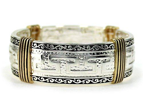 Itsalotalike Greek Key Cuff Stretch Bracelet