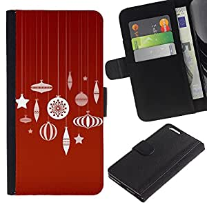 For Apple iPhone 6 Plus(5.5 inches),S-type® Merry Red White Decorations - Dibujo PU billetera de cuero Funda Case Caso de la piel de la bolsa protectora
