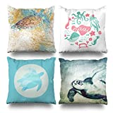 Decorative Pillows Case Cushion Cover 18'' x 18'' Set of 4,Painted Sea Turtle Beach Coastal Maui Ocean House Flying Green Throw Pillow Decorative Home Decor Indoor/Outdoor Nice Gift Kitchen Garden So