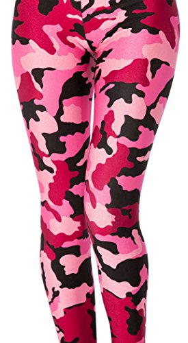 Jescakoo Digital Print Women Pink Camo Leggings Stretchy Tight Pants (Plus Tights Size Print)