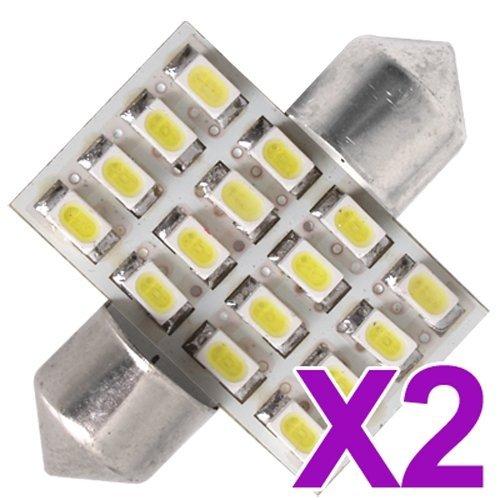 2x c5W 16 SMD 3528 LED 31mm Plaque dome Navette Blanc Festons Ampoule plafonnier Voiture lumiere