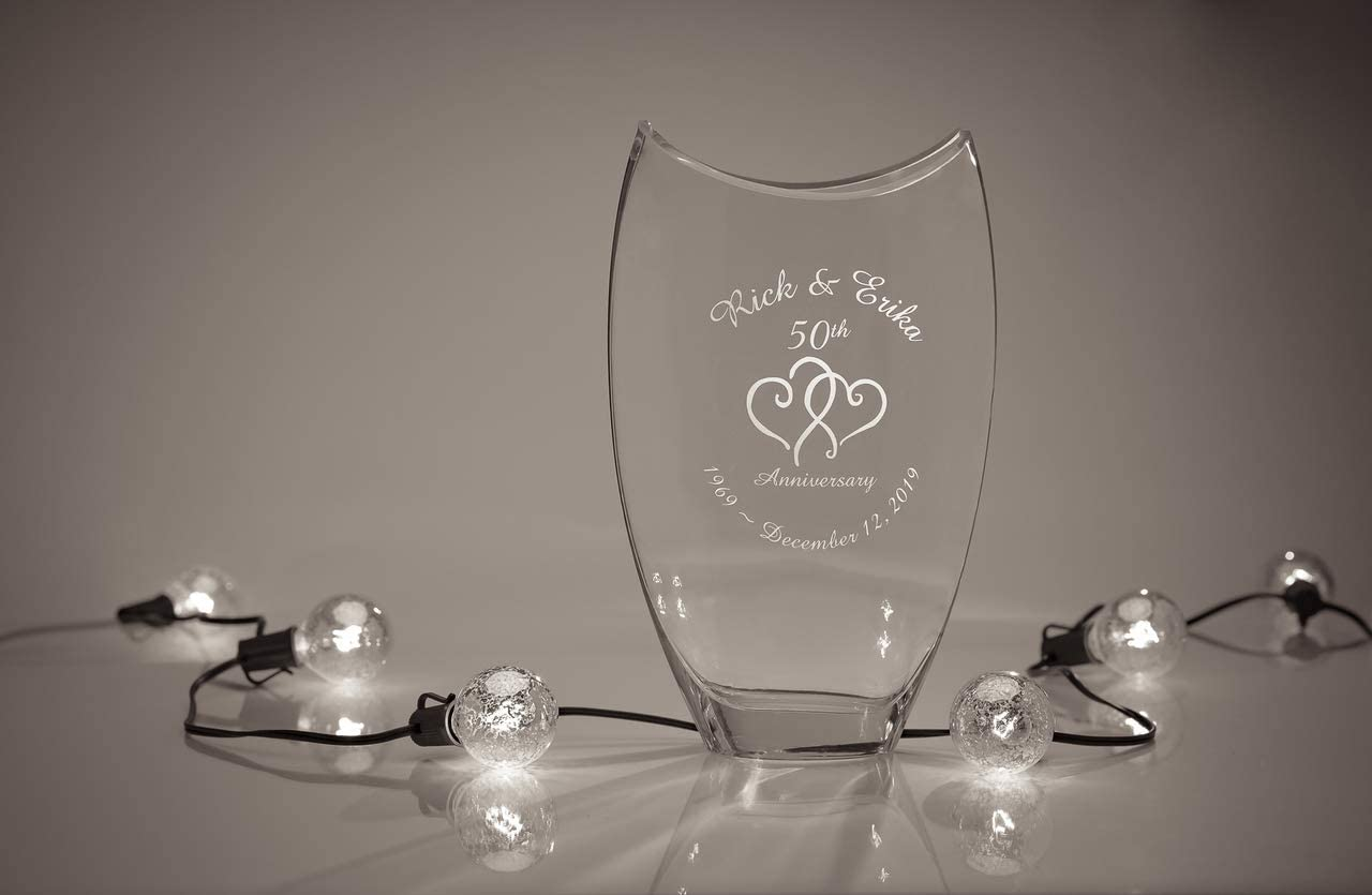 Personalized Basra Crystal Vase With Hearts 12 X 7 Vase Engraved Wedding Vase Anniversary Vase Personalized Glass Vase Engraved Flower Vase Home Kitchen