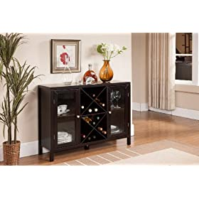Kings Brand Furniture Wood Wine Rack Console Sideb...