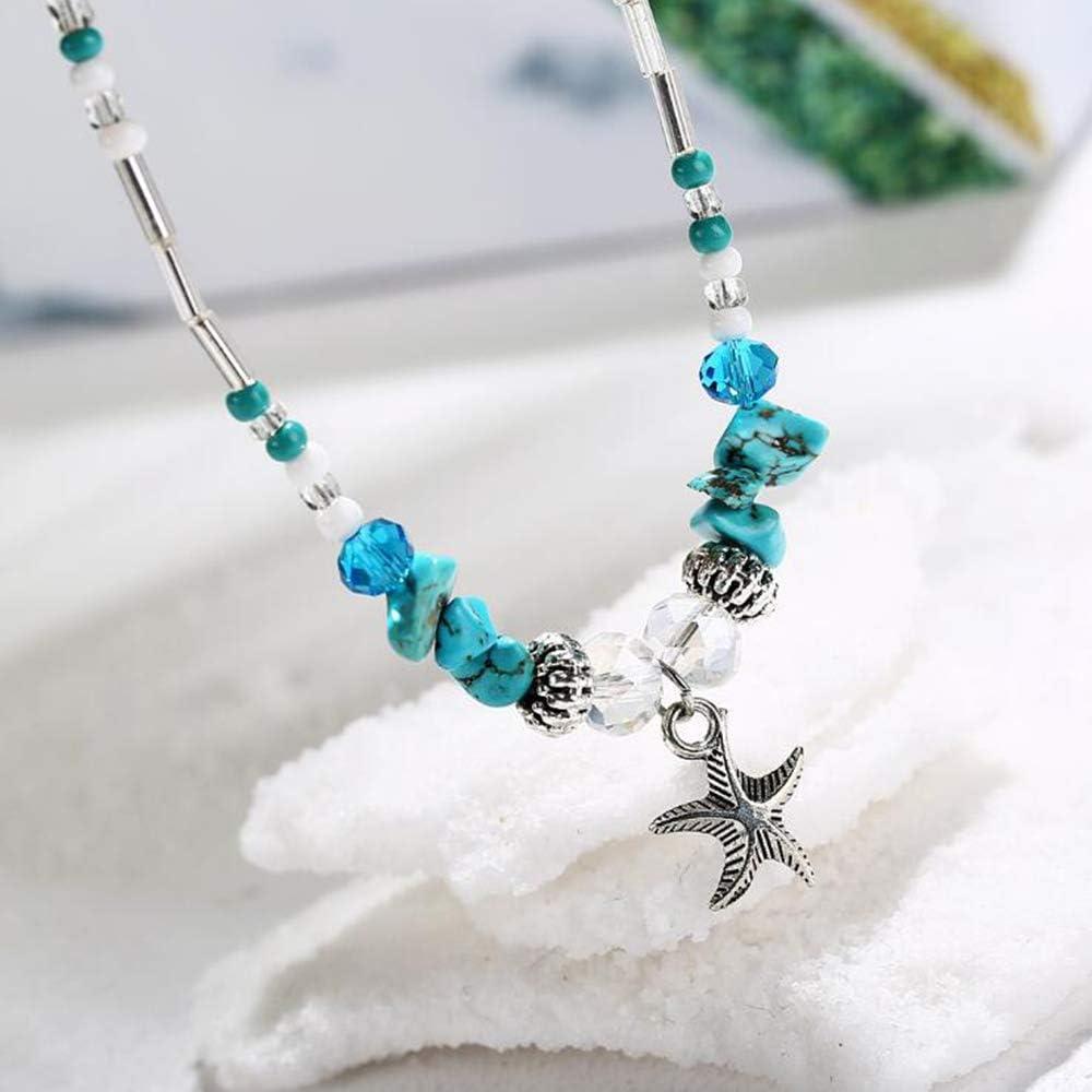 con ciondolo a forma di tartaruga e loto Set di 1 cavigliera a forma di stella marina YiYour
