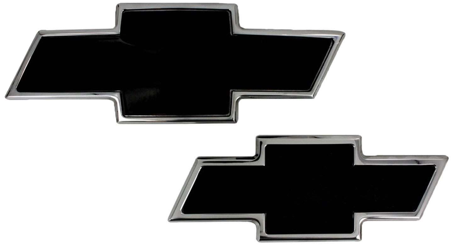 Pack of 2 All Sales 96108KC Ami Chevy Bowtie Grille and Lift Gate Emblem Chrome//Black