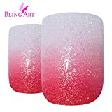 Bling Art False Nails French Fake Gel Ombre Red Squoval Acrylic 24 Medium Tips