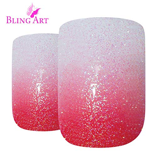 Bling Art False Nails French Fake Gel Ombre Red Squoval Acrylic 24 Medium Tips by Bling Art