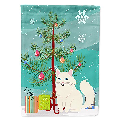 (Caroline's Treasures BB4413GF Garden Size Turkish Angora Cat Merry Christmas Tree Flag, Multicolor, Small)