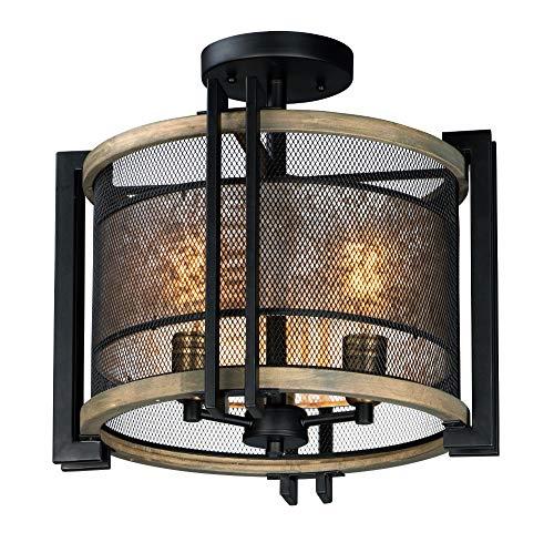 - Maxim Lighting 27560 Flush Mount Black/Barn Wood/Antique Brass