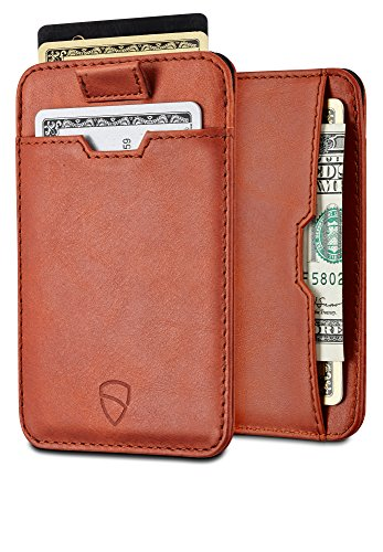 Chelsea Slim Card Sleeve Wallet with RFID Protection by Vaultskin - Top Quality Italian Leather - Ultra Thin Card Holder Design For Up To 10 Cards (Cognac) (Best Tech Gifts 2019 Under 100)