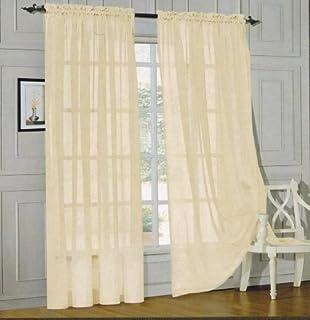 Sheer Curtains beige sheer curtains : Amazon.com: 3 Piece Beige Sheer Voile Curtain Panel Set: 2 Beige ...