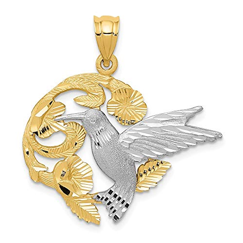 14k Two Tone Yellow Gold Hummingbird Pendant Charm Necklace Bird Fine Jewelry Gifts For Women For Her 14k Yellow Gold Hummingbird Charm