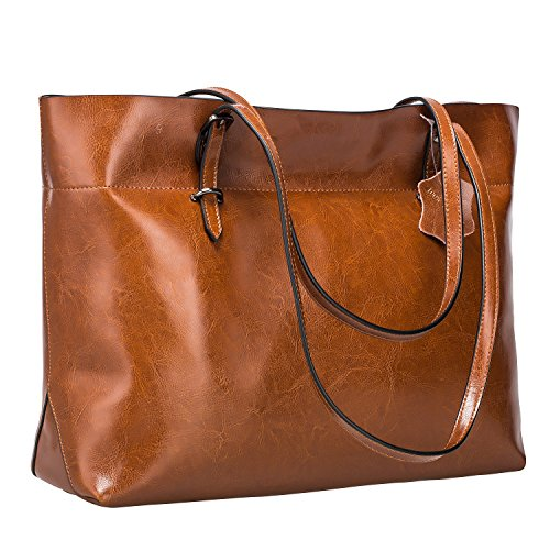 S-ZONE Women's Vintage Genuine Leather Tote Shoulder Bag Handbag (Dark Brown)