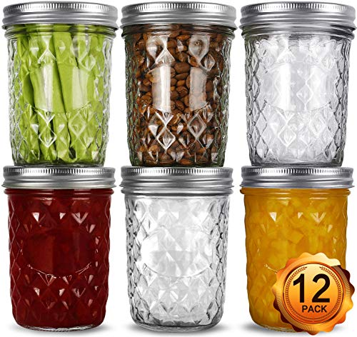 Wide Mouth Mason Jars 16oz, VERONES 12 Pack 16 oz Wide Mouth Mason Jars with Lids and Bands, Ideal for Jam, Honey, Wedding Favors, Shower Favors, Baby Foods