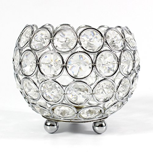 (Dehomy Crystal Votive Tealight Candle Holder for Wedding,Home,Candlelit Banquet Decoration Dinning Table Centerpieces(Chrome))