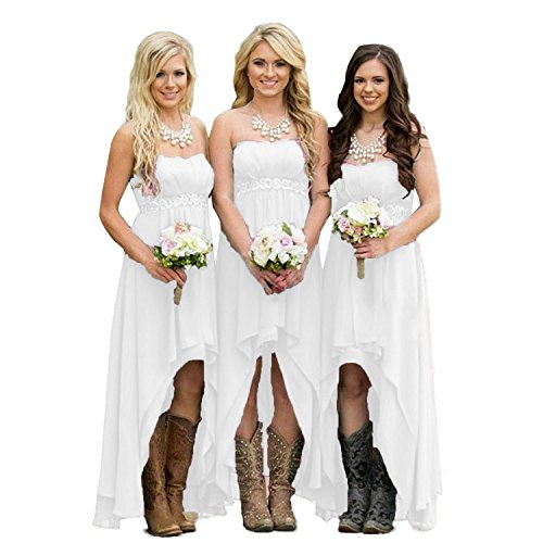 - Fanciest Women' Strapless High Low Bridesmaid Dresses Wedding Party Gowns White US10