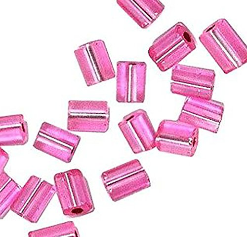 "Luxury & Custom {3.5 x 5.5mm} of Approx 100 Individual Loose Small Size Flat Rectangle ""Smooth"" Beads Made of Genuine Glass w/ Pretty Shiny Metallic Inner Foil Lined Design {Pink & Silver}"