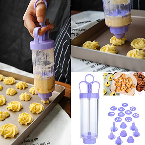 Gotian Flower Pattern Cookie Biscuit Making Maker Pump Press Machine Mounted Flower Mouth Kitchen Mold Tools Set ()