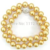 """Prime Leader Natural Stone 10Mm Golden South Sea Shell Pearl Necklace Beads Jewelry 18"""" Aaa + Magnet Clasp Bv198"""