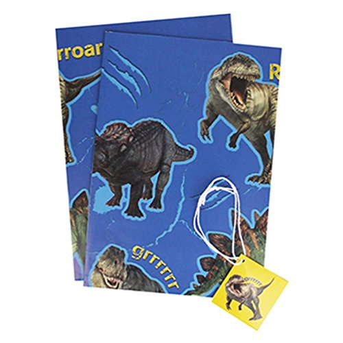 (NHM Dinosaurs Wrapping Paper & Tags - 2 Gift Wrap Sheets & 2 Tags)