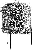 Enamelware Beverage Dispenser with Stand - Black Marble