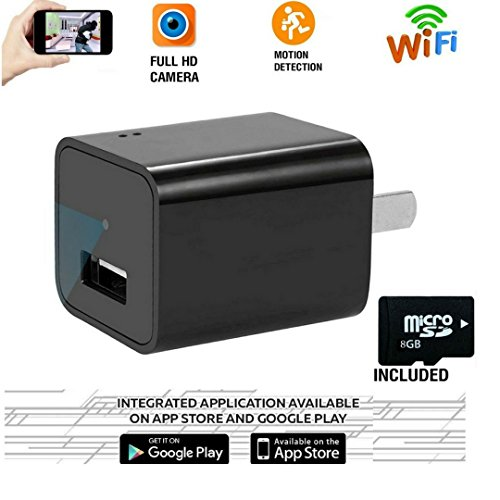 Wifi Hidden Spy Camera , USB Wall Charger Adapter Cam-1080P HD Nanny Camera-Motion Detection-Remote Live Video Viewing-For Home Security (8GB SD Card - Eyeglass Spectrum