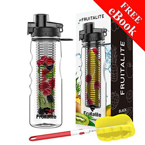 Fruitalite® Fruit Infuser Water Bottle – 750ml/25oz, Anti-Sweat & Insulating Thermo Sleeve with Full Length Infusion Rod Combo Set + 125 Fruit Infusion Detox Water and Rapid Weight Loss Recipes BONUS eBook + Free Cleaning Brush for Easy Clean (Black)