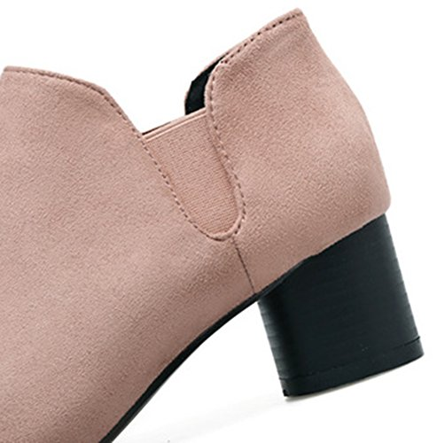 Ankle Slip Chunky Faux Light Boots Pink High Heel Suede On Easemax Trendy Mid Women's xzZn4wTS