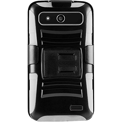 For ZTE Speed Overture 2 Fanfare Z810 Z791 Z792 N9130 Side Stand Cover Case With Holster - Black+White